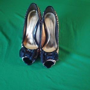 Charlotte russe leopard print peep toe heels